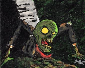 Zombie 6 x 6 Acrylic Painting