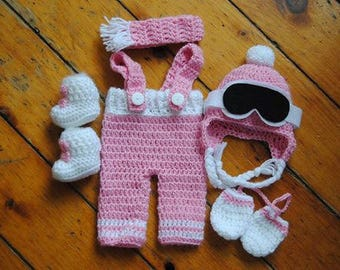 Newborn Skier Photo Prop/ Pink and White Prop/ Baby Photo Prop/ Newborn Photo Prop/ Winter Baby Prop/ Baby Shower Gift