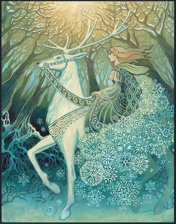 Snow queen 8x10 fine art print pagan mythology bohemian yule zoom m4hsunfo