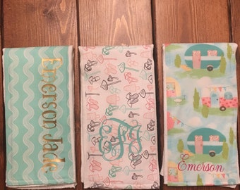 Personalized Monogrammed Baby Burp Cloth Set of 3
