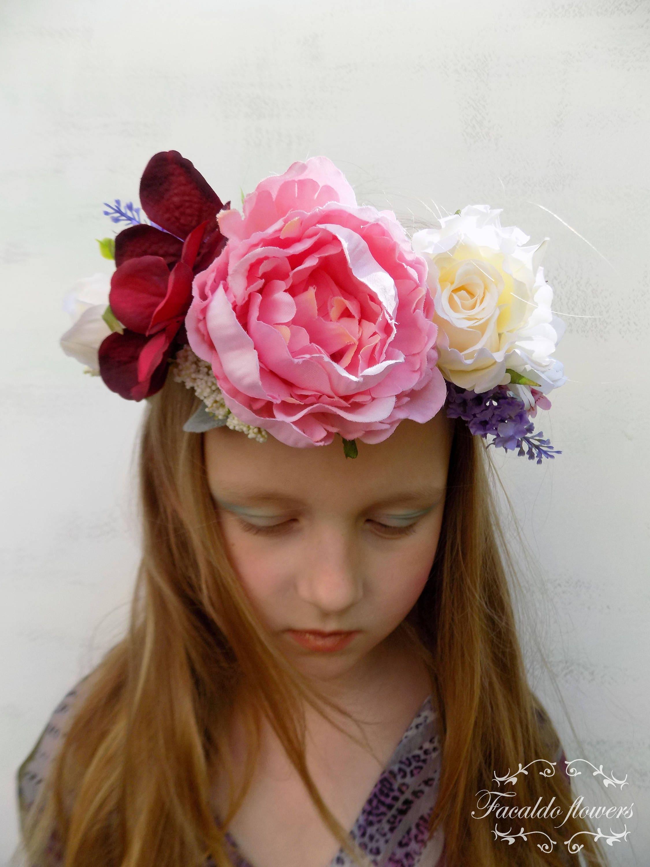 Peony bridal floral crown flower hair wreath boho wedding hair zoom izmirmasajfo