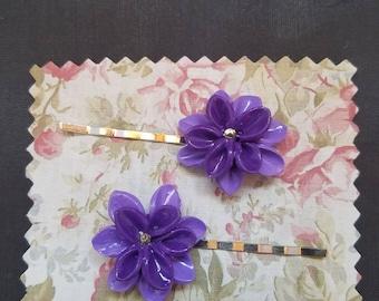 Purple Flower Hairpins
