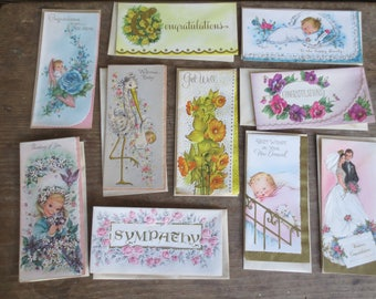 Vtg 1960s Unused Cards / Lot of 10 Assortment of Greeting Cards / Paper Ephemera
