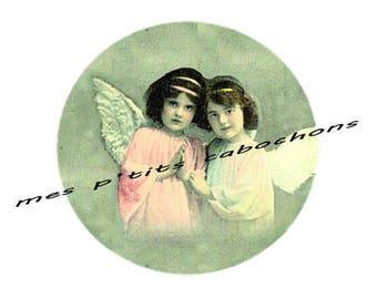 Pretty cabochon glass Angels ref - 25 mm