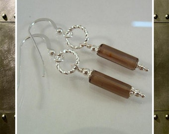 Smoky Quartz Earrings, Gemstone Earrings,  Beaded Earrings,  Dangle Earrings, Brown Earrings,  .925 Sterling Ear Wires Item #649