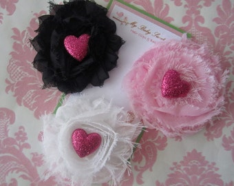 Girl hair clips - valentine hair clips - girl barrettes