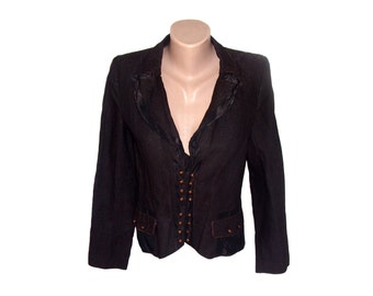 Vintage Grana women blazer jacket brown metal buttons