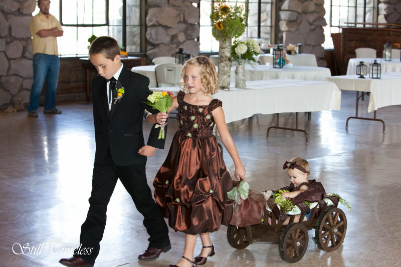 Small Flower Girl Wedding Wagon Stained Dark or Light