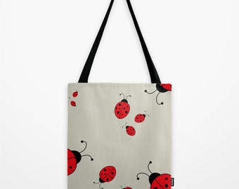 Red Ladybug Tote Bag, Beige Shoulder Bag
