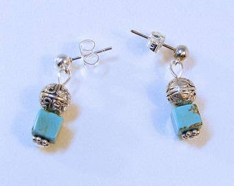 Turquoise Cube Post Earrings