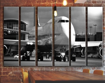 BIG SET Aircraft Picture on Canvas Jet Airplane Wall Art Wall Decor Aviation Travel Poster Print Painting Transportation Design Large Gift