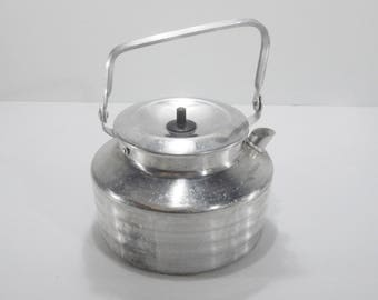 Antique french aluminum Camping Kettle. french Military Kettle 1940 s. Retro Kitchen