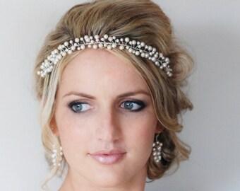 Pearl Hair Vine,Pearl Bridal Headband, Pearl Wedding Halo, Wedding Hair Accessories, Bridal Halo, Swarovski Pearl Headband, Bridal Hairpiece