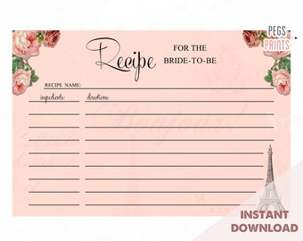 paris recipe card digital download printable recipe cards recipe card printable instant download bridal shower recipe cards