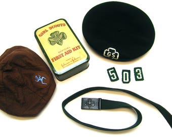 Vintage Girl's Scout Berets, Belt, Patches, First Aid Tin