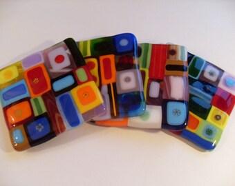 Funky Geometric super colorful fused glass coasters