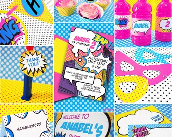 INSTANT DOWNLOAD,  Superhero Girl Pink Printable Party Package, You Edit Yourself in Adobe Reader