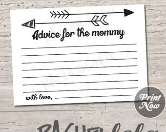 Arrow Advice for the Mommy, Baby Shower Advice Cards game, gender neutral tribal, boy, girl, printable template, instant digital download