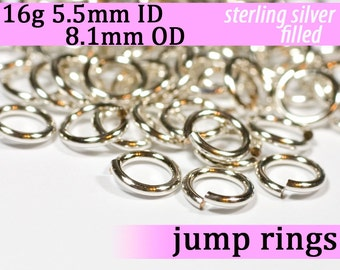 16g 5.5mm ID 8.1mm OD silver filled jump rings -- 16g5.5 jumprings links silverfilled silverfill