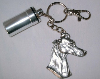 Pill Fob Key Ring with Greyhound and Swivel Clip