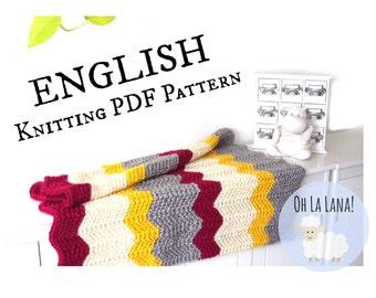 Easy KNITTING PATTERN Baby Blanket, Easy Chevron Baby Blanket knitting pattern, beginner knitting blanket, Zig zag blanket pattern