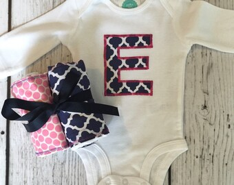 Bodysuit and Burp Cloth Gift Set: Navy Blue and Pink