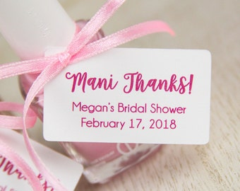 Mani Thanks Tags - Bridal Shower Thank You Gifts - Baby Shower Favors - Spa Party - Nail Polish Favor - Custom Favor Gift Tags - 36 Pieces