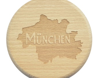 Beer Glass lid Munich Bavaria engraving wasp protection-beer glass lid-beech-engraving-Munich