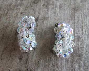 Aurora Borealis Glass Clip On Crescent Shaped Clip On Earrings