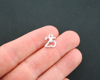 4 Number 25 Charms Silver Plated Number Charm - SC4911