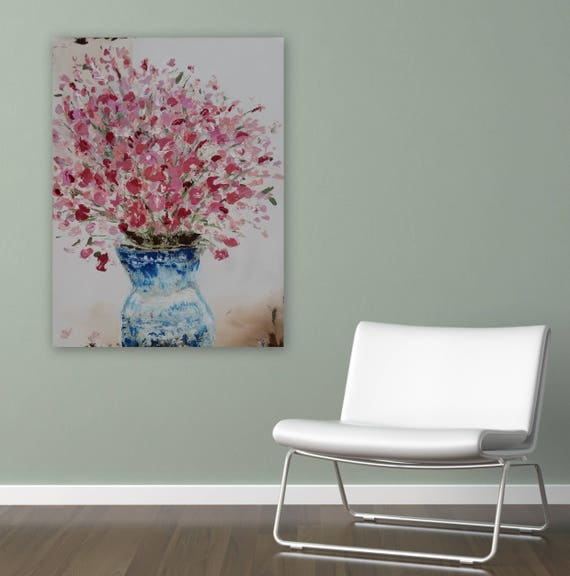 "Large floral painting gallery wrapped ready to hang on 1.5"" deep frame orginal painting 30 x 24"