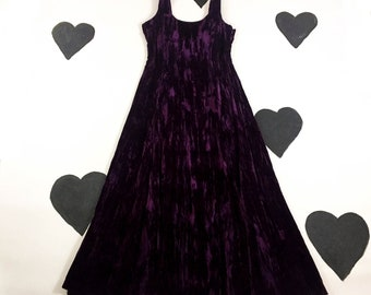 80's early 90's Betsey Johnson crushed velvet rosette goth party prom dress / low open back deep purple rose long romantic evening gown / L