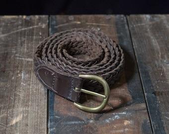 Vintage choclate brown weaved leather belt.