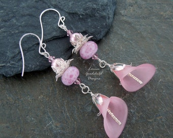 Pale pink earrings, pink flower earrings, sterling silver earrings, flower jewelry, nature lover gift, spring flower earrings, pink earrings