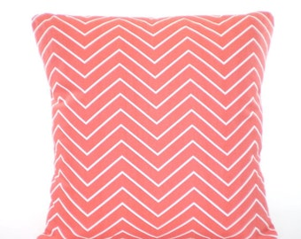 Coral Throw Pillow-Cushion Cover ALL SIZES Coral White Chevron Couch Pillow Bed Shams Accent Pillow Decorative Pillow Coral White Pillows