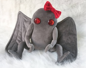 Mothman Plush - Moth Man - Soft Gray Velour with Poseable Arms and Optional Pin-On Bow