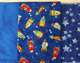 3 Remnants Blues Cotton Fabrics with Space Motiff
