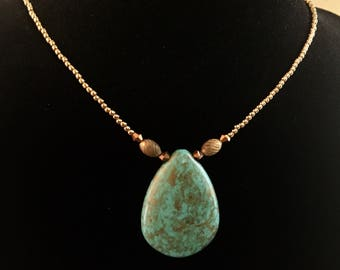 Turquoise and Seed Bead Choker Style Necklace