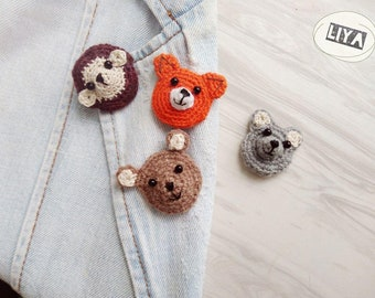 Set of brooches, animals brooches, bear, hedgehog, fox, knitted brooches, brooches, orange, unusual brooch, original gift, decor for clothes