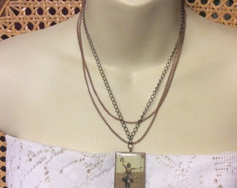 Vintage old photograph cowgirl pendant multi chain necklace.