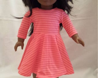 """Knit circle skirt dress in bright stripes for 18"""" dolls"""