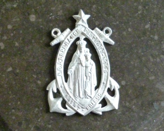 Antique French Medal with Anchors - Notre Dame d'Espérance - Our Lady of Hope - Saint Brieuc - France