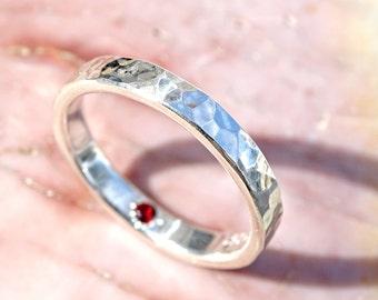 hidden gemstone ring silver engagement ring secret gemstone flush set, silver wedding ring for her, hammered silver ring unique gift for her