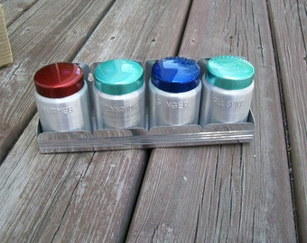 Vintage Spice Rack / Spice Canisters / Aluminum Spice Canisters / Wall Spice Rack
