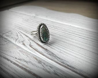 Lovely Damale Turquoise Sterling Silver Ring -  Size 8.5