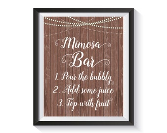 Mimosa Bar Sign, Rustic String Lights Bubbly Bar Sign, Champagne Bar, Bridal Shower, Birthday, Anniversary, Wedding, Country Shower décor