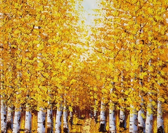 Yellow Tree Path,  20x24  100% Hand Painted  Oil Painting on Canvas,