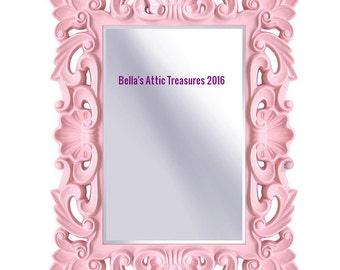 Pink Mirror, Ornate Mirror , Mirror, Wall Mirror, Nursery Mirror, Size 43 x 32