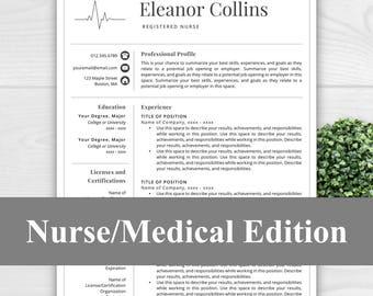 Nurse Resume Template For Word U0026 Pages, Nurse CV, Doctor Resume, Doctor CV