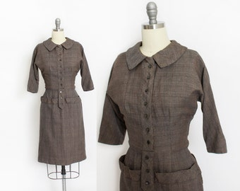Vintage 1950s Dress - Wool Plaid Grey Fitted Shirtwaist Day Dress 50s - Small